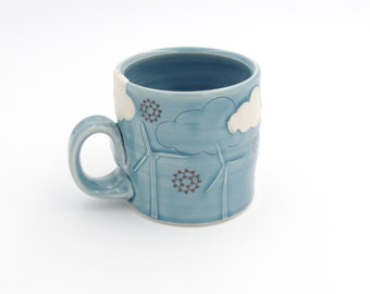 Windmill Ceramic Mug // ceramic cup, coffee cup, handmade pottery, wheelthrown pottery, blue mug, clouds, wind turbines, windmills cup