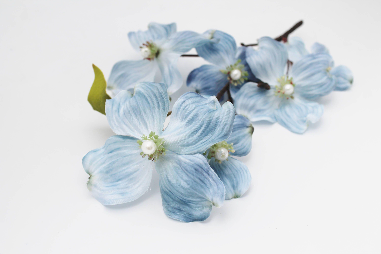 Light Blue Dogwood Flower Stem | Wreath Supplies | Wedding Bouquet ...
