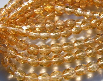 Honey Color 6mm Faceted Fire Polish Czech Glass Beads  25  SPRING 2011