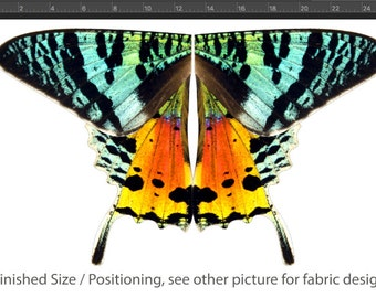 Small Size Rainbow Sunset Moth Fabric For Making Costume Wings, Children's Size - 100% Cotton Woven