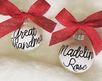 Christmas White Personalized Ornaments with Red Ribbon - Mom and Dad Funny Quote Ornaments