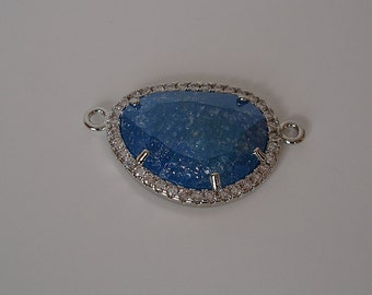 Faceted Glass Blue Connector  Bezel with Clear Cubic Zirconia Rhodium Brass 25x15mm