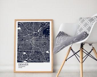 Map Art/ Denver Print /Denver City Map /Denver Map Poster / Denver Map Art/ Denver Map Print/Denver Map/Denver Poster/ Denver Gift /City Art