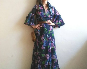 Vintage 70s Bohemian Maxi Dress ~ Ethereal Long Dress with Floral Print and Bell Sleeves ~ Fairy Romantic Style