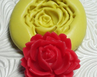 "1 1/8"" ROSE ROSETTE CABOCHON Flexible Silicone Rubber Push Mold for Resin Wax Fondant Clay Ice"