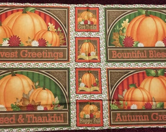 Harvest Greetings 100% cotton fabric panel placemat and coaster blocks - 24 x 44 per panel - 4 placemats & 4 coaster blocks per panel