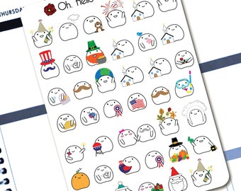 """Planner Stickers - """"Blobby Celebrates the Holidays"""" Celebration Stickers - Erin Condren Life Planners - H3"""