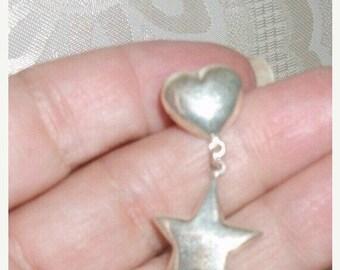 SALE 25% OFF Southwest Sterling silver heart and star pierced earrings