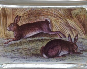Opal Grove Large Rectangle Paperweight, vintage rabbit