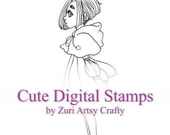 Red, Digital Stamp, Cute Girl, Scrapbooking Digital Stamp, Instant Download, Zuri Artsy Craftsy