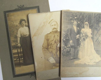 Vintage photographs - 3 mounted photos of soldier, wedding, woman circa early 20th century. Collectible or for use in art project. OT676