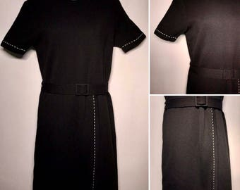Vintage 1960s Black Wool Wiggle Dress Size Small to Medium Silver Metallic Border Made in Italy Short Sleeve Belted