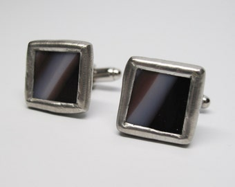 Violet Lines - Mens Stained Glass Cuff Link Set