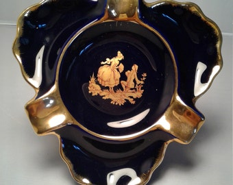Limoges Blue and Gold Courting Couple Ashtray