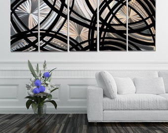 Extra Large Silver & Black Contemporary Metal Wall Sculpture, Modern Metal Wall Art, Home/Office Decor - Fast and Furious XL by Jon allen