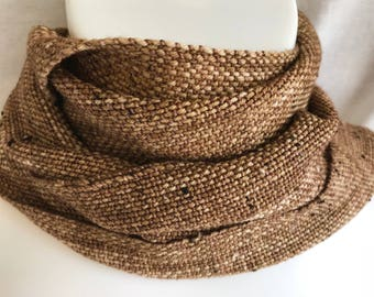 Handwoven Scarf   Golden Brown Donegal Tweed Scarf   Woven Tweed Scarf   Brown Scarf   One Of A Kind   Gift For Him   Christmas Gift   Gift