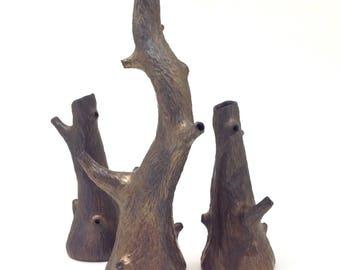 Porcelain faux carved bronze tree vase, faux bois, metallic