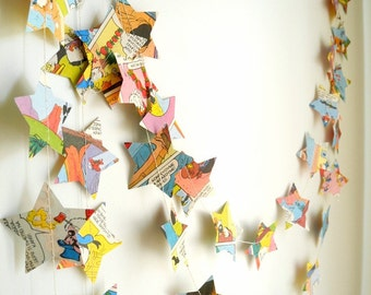 Comic Book Star Paper Garland, Childrens Book Page Garland, Colorful Birthday Party Garland
