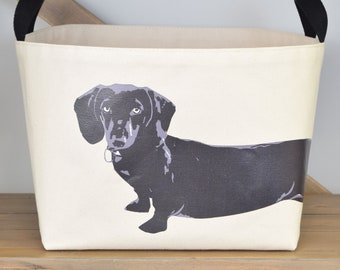 Dachshund Canvas Dog Toys Storage Bin