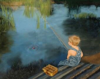 Boy Fishing Photograph  Wall Art Nursery Art Photo Painting Nursery Decor