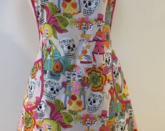 Womens Full Apron Day of the Dead