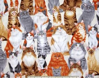 Animal Fabric - Packed Pet Cats on Cream - Benartex Kanvas YARD