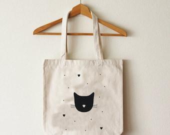 Cotton tote bag cat organic