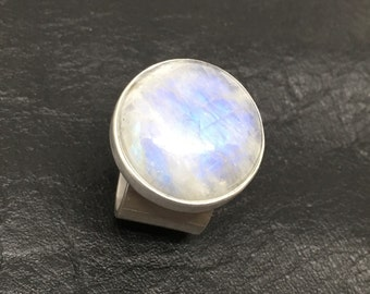 Radiant Moonstone Cabochon Ring in Solid Sterling Silver .925