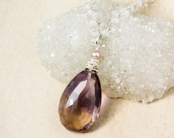 Silver Purple Ametrine Necklace on Moonstone Chain - Natural Ametrine Pendant, Freshwater Pearl