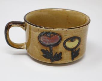 Vintage Ceramic Brown and Floral Print Soup Mug