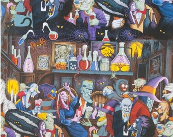 Unhappy Hour in Multi - Black Background - Halloween Fabric, 100% Cotton by Alexander Henry
