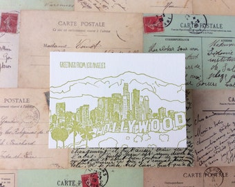 Los Angeles - five letterpress postcards