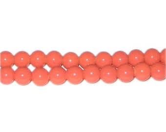 8mm Deep Orange Team and School Glass Bead, approx. 56 beads