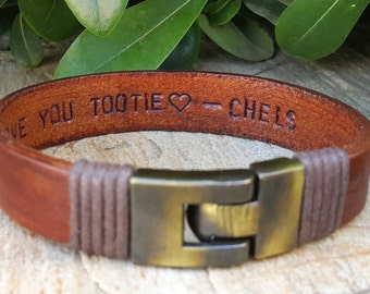 Personalized Gift For Him, Hidden Message, Hand Stamped Custom Quote Leather Jewelry, Men Anniversary Gift, Fiance Gift, Mens Gift