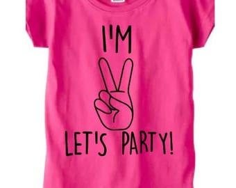 2nd birthday shirt, birthday shirt for girls, toddler girl birthday shirt, I'm 2 Lets party, second birthday, two year old shirt, party