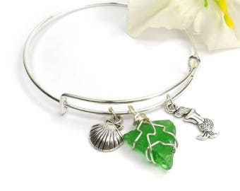 Mermaid Sea Glass Bangle Bracelet, Green Summer Adjustable Stacking Bracelet, Beach Jewelry