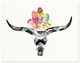 Tribal Boho Skull with Feathers Watercolor Art Print. Longhorn Skull with Feathers Art Print. Desert Dorm Decor. Bohemian Dorm Art Print.