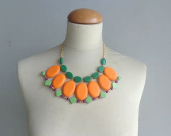 Neon orange necklace, Green orange bib necklace, colourful chunky necklace, modern tribal necklace, statement green orange necklace