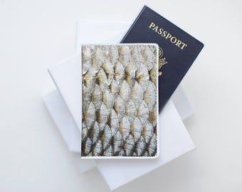 Fish Scale Passport Holder Leather Passport Cover Passport Case Passport Pouch Wallet Travel Passport Purse Travel Accessories Travel Gift