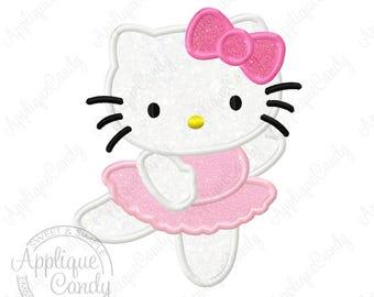 Kitty Ballerina Applique 2 Machine Embroidery Design 4x4 5x7 6x10 hk dance dancer dancing bow Hello Flower INSTANT DOWNLOAD