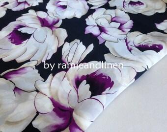 "silk fabric, floral print on black silk georgette satin fabric, scarf fabric, dress fabric, one yard by 44"" wide"