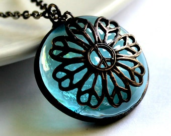 Stained Glass Jewelry Necklace - pale Aqua Glass Cab - Peaceful Flower