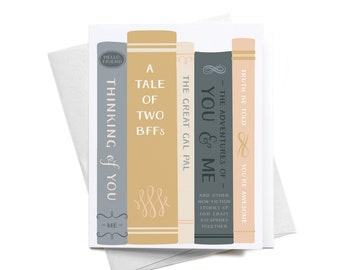 Greeting Card | A Tale of Two BFFs, Great Gal Pal | Stack of Books