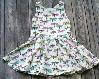 READY TO SHIP. Dragonfly Dress. Size 2T. Sleeveless Dress. Bug Dress. Summer Dress. Toddler Dress. Twirl Dress. Twirly Dress. Play Dress.