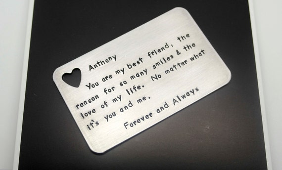 Hand stamped wallet insert card customized personal messages