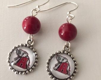 Alabama Earrings with crimson stone and Alabama Elephant charms