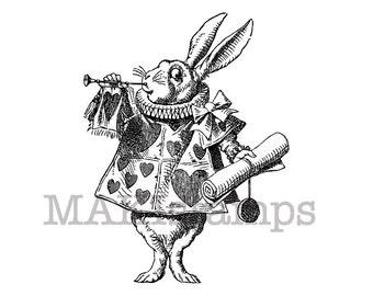 Alice rubber stamp White Rabbit as Herald / Alice in Wonderland stamp (140807)