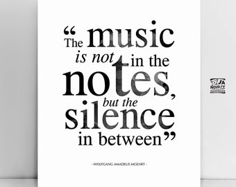 Mozart quote print, poster, Music poster, typography poster, home decor, motto, motivational, famous quote, inspirational, typography print
