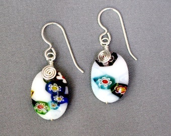 Wire Wrapped Millefiore Glass Earrings