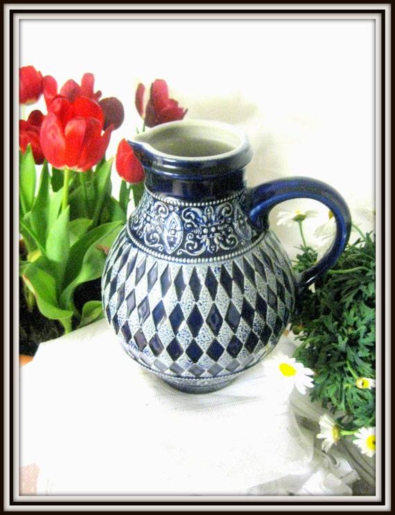 Vintage water jug old Cobalt Marchi & Remy stoneware water jug large jug german stunning pottery vase salt glazed Westerwald pottery